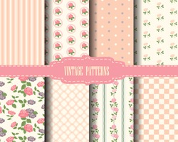 set of rose and sweet pink seamless pattern, vintage design Pattern Swatches, vector, Endless texture can be used for wallpaper, pattern fills, web page,background,surface