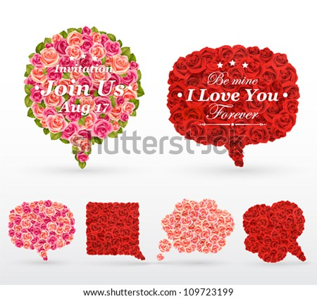 Set of rose bubbles for speech. Vector illustration.