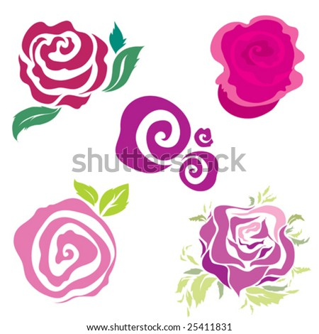 Set of rose design elements