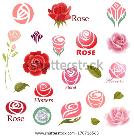 set of rose flower design
