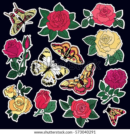 Set of roses and butterfly patches elements. Set of stickers, pins, patches and handwritten notes collection in cartoon 80s-90s comic style.Vector stikers kit