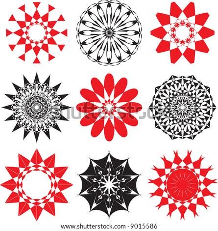 set of rosette flowers,vector