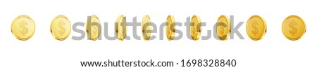 set of rotating gold coins with