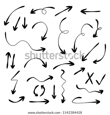 Set of rough hand drawn, handmade elements arrows, waypoints isolated on white background EPS Vector