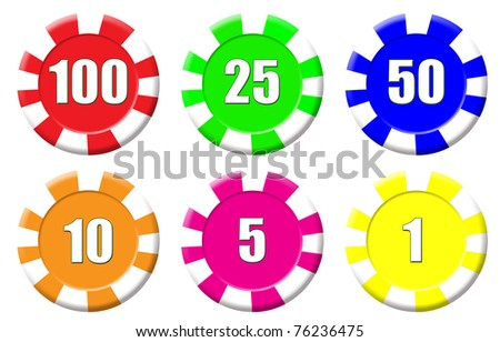 Set of roulette chips isolated on white, vector illustration