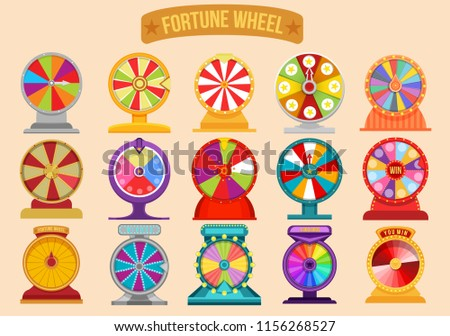 set of roulette fortune spinning wheels. Wheel fortune spin. Lottery luck illustration casino money games.