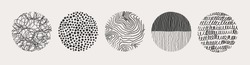 Set of round Abstract black Backgrounds or Patterns. Hand drawn doodle shapes. Spots, drops, curves, Lines. Contemporary modern trendy Vector illustration. Posters, Social media Icons templates