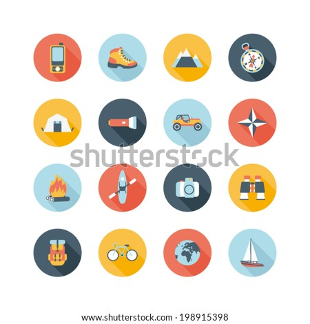 set of round adventure traveling icons