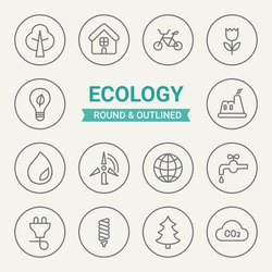 Set of round and outlined ecological icons. Tree, House, Bicycle, Flower, Lamp, Plant, Water, Wind Power, Earth, Faucet, Electricity, Saving Lamp, Fir, Cloud Perfect for web pages, mobile applications