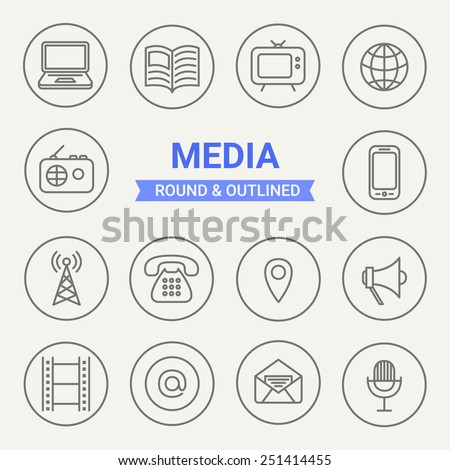 Set of round and outlined media icons. Laptop, Newspaper, TV Set, Internet, Radio, Mobile, Tower, Phone, Mark, Loudspeaker, Film, Mail, Letter, Microphone. Perfect for web pages, mobile applications