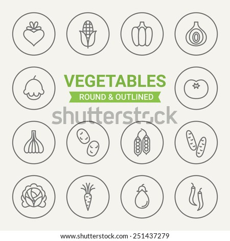Set of round and outlined vegetables icons. Beet, Corn, Paprika, Onion, Squash, Tomato, Garlic, Potato, Peas, Cucumber, Cabbage, Carrot, Eggplant, Chilli. Perfect for web pages, mobile applications