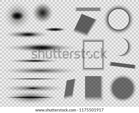 Set of round and square shadow effects. Vector shadows isolated.Vector illustration EPS10
