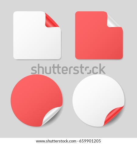 Set of round and square stickers, realistic mockups #659901205