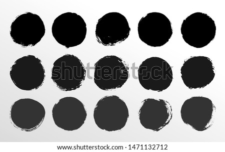 Set of round button. Hand painted ink blob. Hand drawn grunge black circle. Graphic design element for cards, corporate identity, web, prints etc. Vector illustration. Isolated on white background.