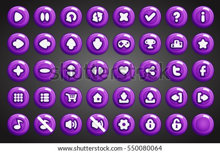 Set of round buttons in cartoon style. 2d asset for user interface GUI in mobile application or casual video game.