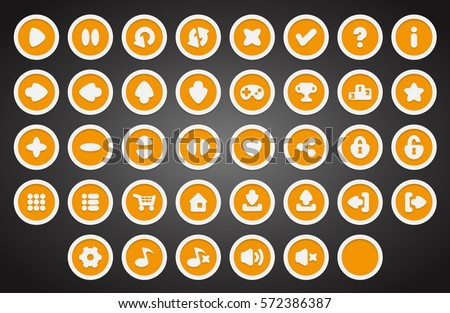 Set of round buttons in flat style. 2d asset for user interface GUI in mobile application or casual video game.