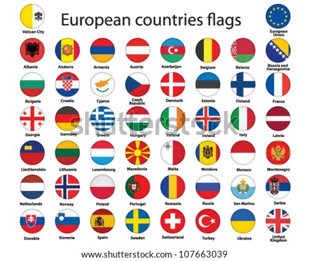 set of round buttons with flags of Europe vector illustration #107663039