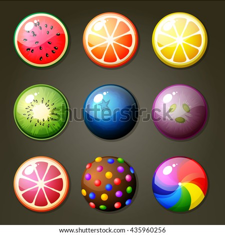 set of round candies for match