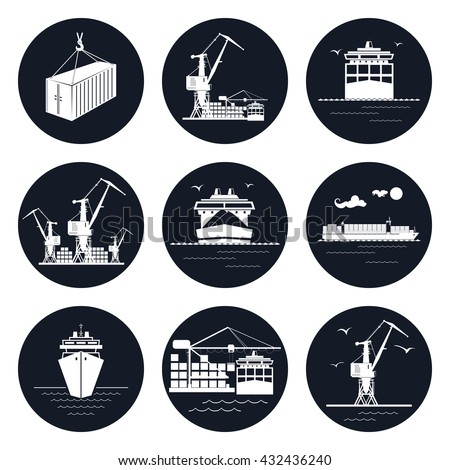 set of round cargo icons  dry
