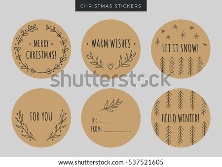 Set Of Round Craft Merry Christmas Stickers Labels Or Tags With Hand Drawn Elements