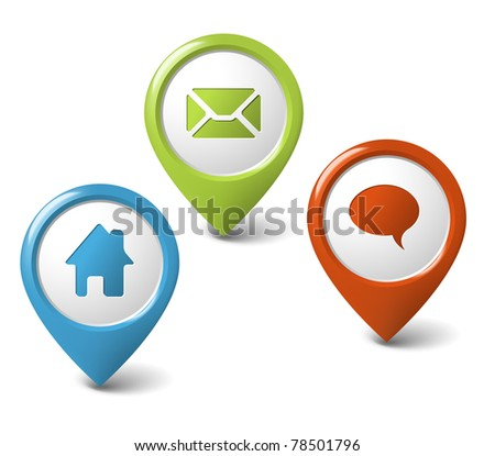 Set of round 3D pointers - home, email, chat, discussion - stock vector