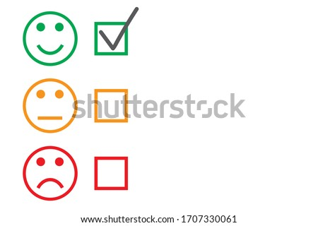 Set of round faces with checkboxes on white background. Three colored faces expressing good level of satisfaction. Vector feedback survey template with copy space. Choose option, yes, maybe, no.
