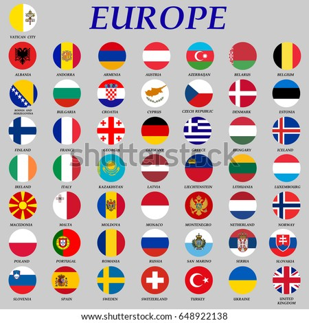 set of round flags of europe