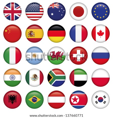 set of round flags world top