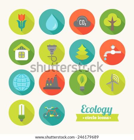set of round flat ecological