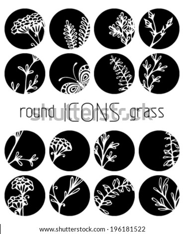 Set of round flat icons Flowers grass and butterflies silhouettes Black and white design