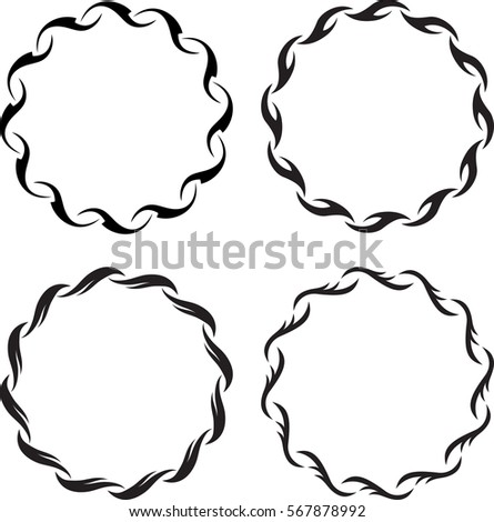 Set of 4 round floral decors. Vintage frames for your design. Vector illustration.