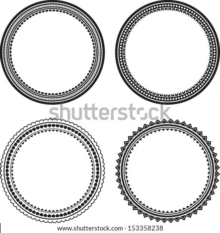 Set black round vector frames ornament free vector download (36,292 ...