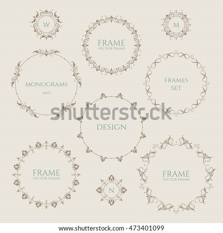 Set of round frames and monograms. Template  labels, stickers, cards.
