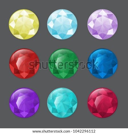 Set of round gemstones in different colors. To illustrate aquamarine, chrystal, zircon or other gem