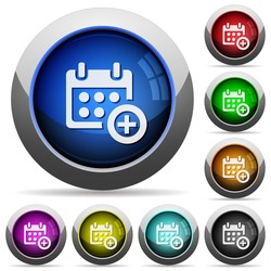 Set of round glossy Add to calendar buttons. Arranged layer structure.