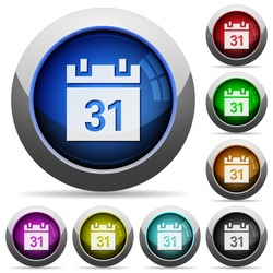 Set of round glossy calendar buttons. Arranged layer structure.