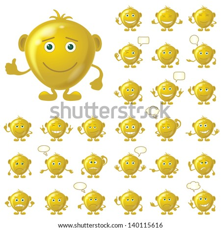 Set of round golden smileys with hands and feet, symbolising various human emotions, isolated on white background. Eps10, contains transparencies. Vector