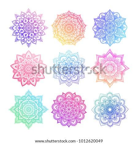 set of round gradient mandala