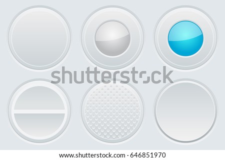 Set of round gray web buttons. Vector 3d illustration
