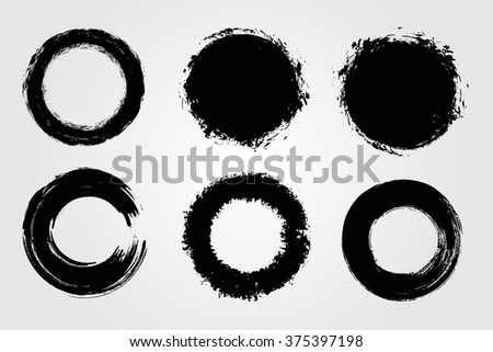 Set of round grunge shapes.Vector banners.Grunge backgrounds.