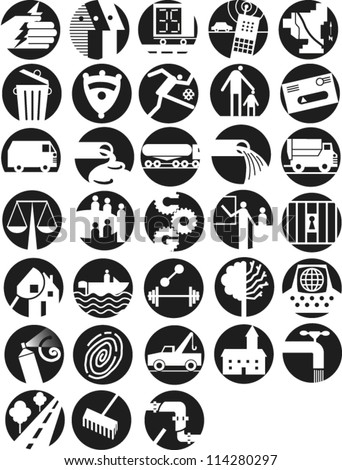 Set of round icons illustrating infrastructure and government