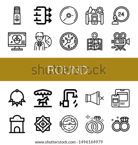 Set of round icons such as Biscuit, Rgb, Air quality, Pie chart, Cd, Wall clock, Panorama, Map, hours, Video camera, Necklace, Ticket office, Merry go round, Philosophy , round