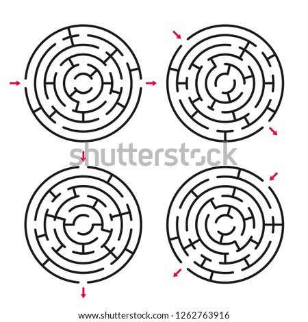 Set of round labyrinths. Vector labyrinths 253.