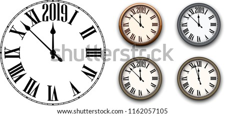 set of round 2019 new year clock isolated on white background flat and 3d templates