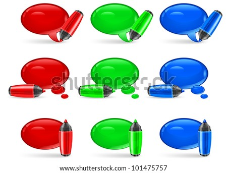 Set of round three color speech bubbles end felt tip pens on white, vector illustration