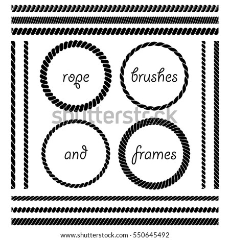 Set of round vector frames from nautical rope isolated on white background. Collection of thick and thin brushes to design frames, borders simulating a braided rope. The brush included in the file