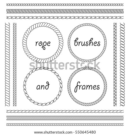 Set of round vector frames from rope isolated on white background. Collection of thick and thin brushes to design frames, borders and divider simulating a braided rope. The brush included in the file