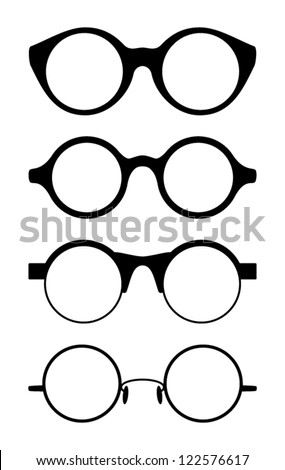 Set of round vector glasses, classic,  isolated on white background,