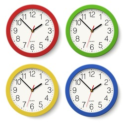 Set of round wall clock with red, green, blue, yellow color bodies isolated on white background