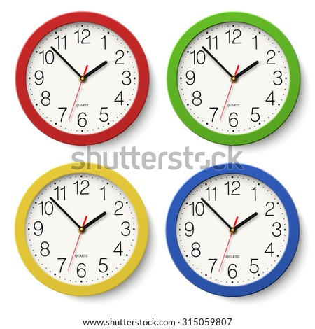 set of round wall clock with